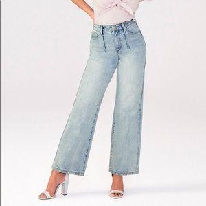 JustFab Pleated Detail Wide Leg Jeans